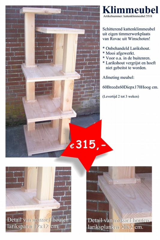 Kattenkrabpaal, klimmeubel van larikshout van Rovac Winschoten (Groningen) 5518